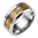 8mm Titanium Stainless steel Gold Carbon Fiber Gold Skull Bike Silver Ring Band