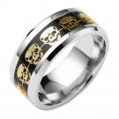 8mm Titanium Stainless steel Black Carbon Fiber Gold Skull Bike Silver Ring Band
