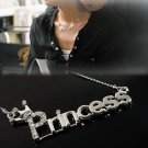 Women Charm Silver Plated Charm Princess Letter Necklace Pendant