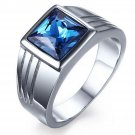 Mens Blue Sapphire Polished Stainless Steel Engagement Promise Ring Size 7-11