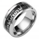 Black Carbon Fiber Silver Wolrd of Warcraft Titanium Stainless steel Ring Band