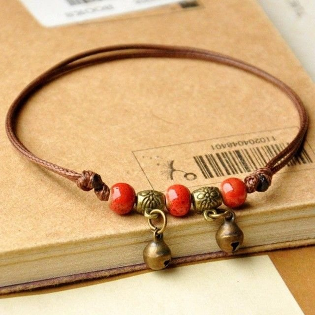 Women Handmade Anklets Beads hand-woven Leather Anklet Foot Chain Jewelry