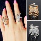 USA Women Spring Shaped Circle Love Star Rhinestone Wedding Engagement Ring