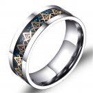 Gold Masonic Titanium Stainless steel Blue Carbon Fiber Silver Ring Band