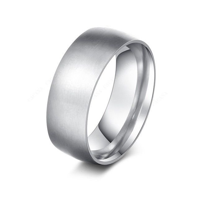 8mm Polished Stainless Steel Wedding Promise Silver Ring Band Size 6-11