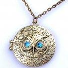Vintage Bronze Blue Eye Owl Antique Locket Long Chain Pendants Necklace