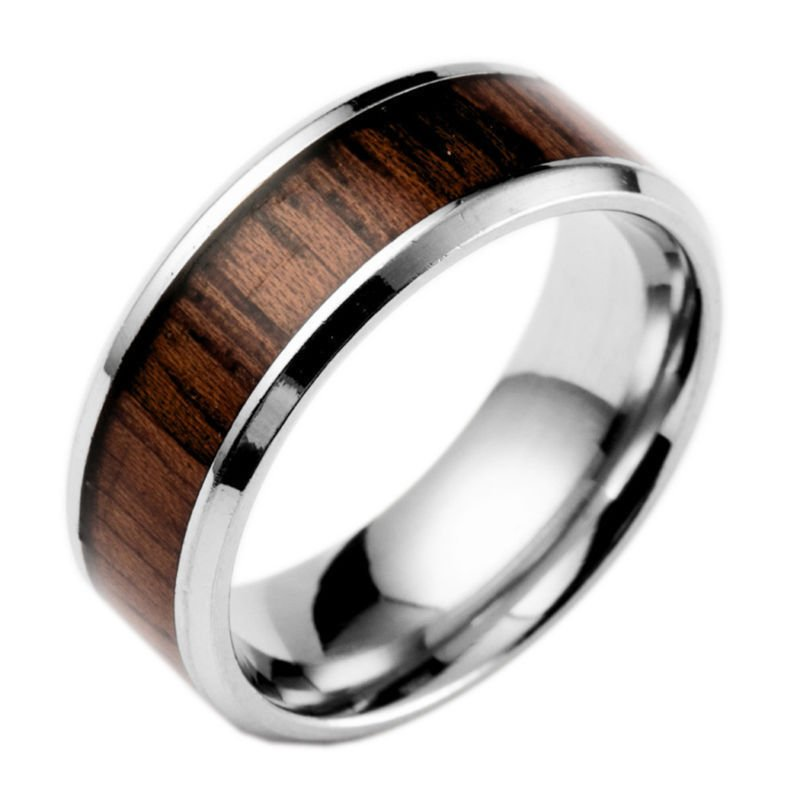 USA 8mm Men's Tungsten Wood Inlay Stainless Steel Wedding Band Ring Size 6-13