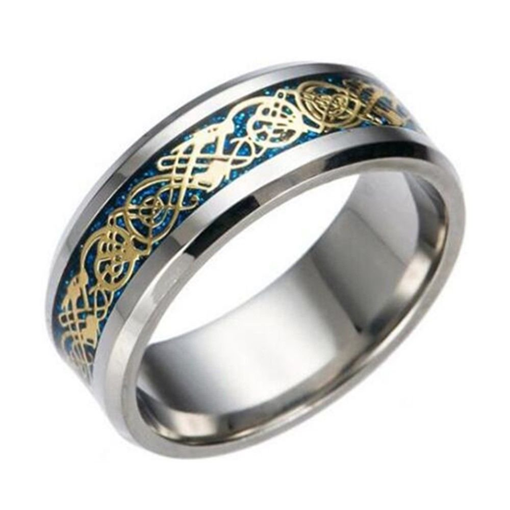 8mm Blue Gold Chinese Dragon Men Women Titanium Stainless Steel Silver Ring Band