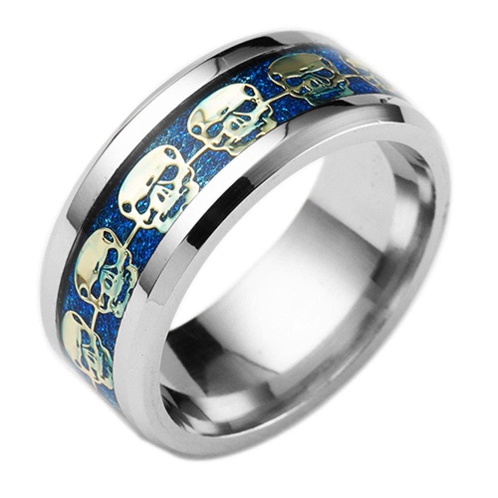 8mm Titanium Stainless steel Blue Carbon Fiber Silver Skull Biker Ring Band
