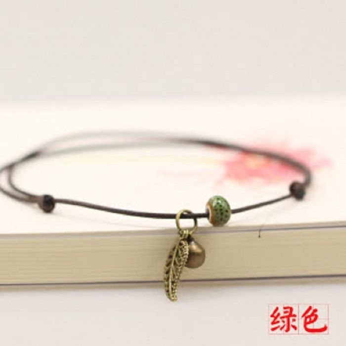 Women Simple Leaf Handmade Anklets Green Bead hand-woven Leather anklet Jewelry