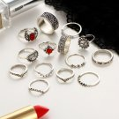 New 14pcs/set Boho Retro Women Silver Gem Finger Knuckle Rings Punk Ring Jewelry