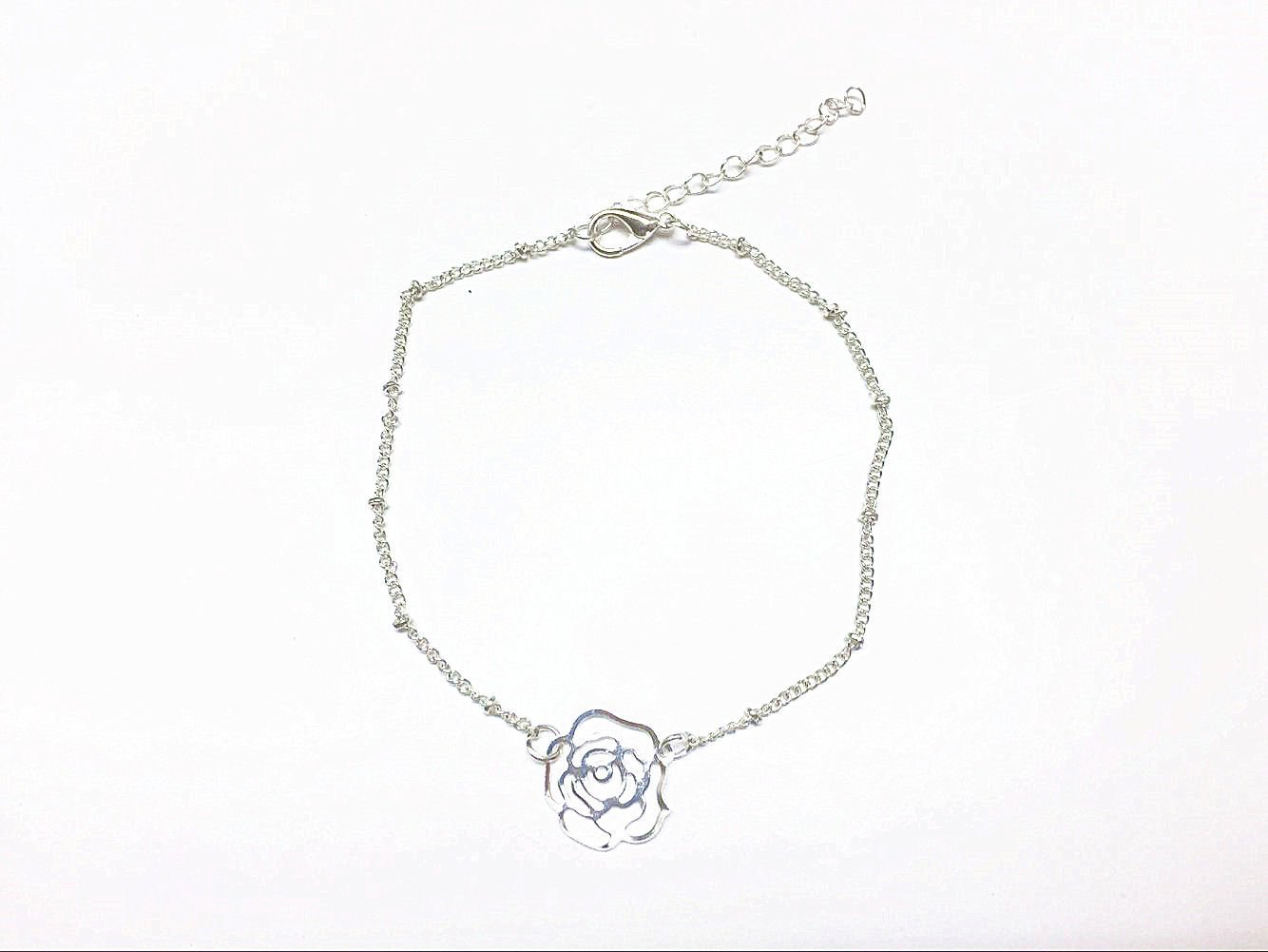 Women Silver Plated Rose Flower Anklet Chain Ankle Bracelet Anklets Foot Jewelry