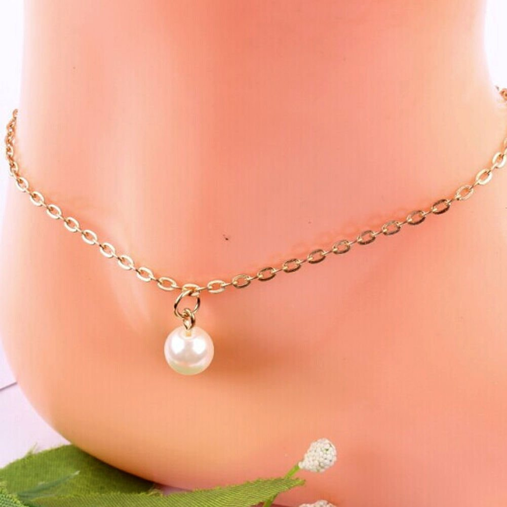 Cute Pearl Bead Women Gold Plated Anklet Chain Ankle Bracelet Anklets Jewelry