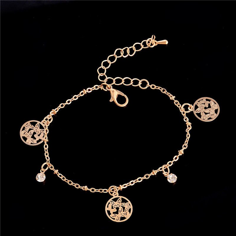 Women Gold Plated Butterfly Ankle Bracelet Anklet Sandal Foot Jewelry