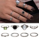 USA Retro 8pcs Boho Antique Black Opal Finger Knuckle Band Rings Set Jewelry