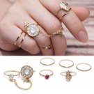 New 6pc/Set Women Crystal Leaf Knuckle Midi Mid Finger Tip Stacking Chain Rings