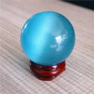 USA 40MM+Stand New Asian Sky Blue Cat Eye K9 Crystal Magic Healing Ball Sphere