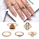5pcs/Set Vintage Boho Gold Plated Women Punk Opal Knuckle Midi Stacking Rings