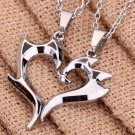 2Pcs Silver Plated Unique Magic Wand Design Heart Shape Pendant Couple Necklace