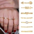 New 7PCS/Set Fashion Vintage Gold Carved Crystal Moon Midi Knuckle Ring