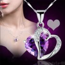 Women Purple Heart Amethyst Crystal Silver Chain Pendant Necklace Jewelry