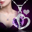 Women Purple Heart Amethyst Crystal Silver Chain Pendant Necklace Jewelry