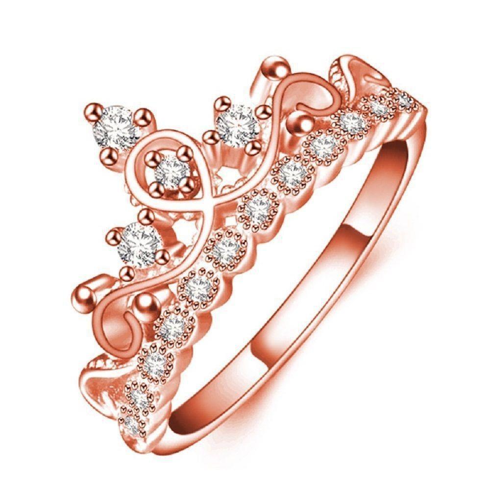 Elegant Women Rose Gold Plated Austrian Crystal Crown Ring Luxury Princess Ring