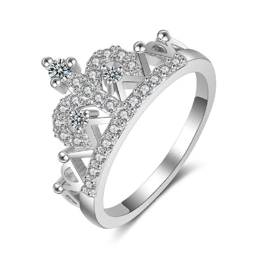 Women Silver Plated Zircon Rhinestone Crown Ring Princess Promise Tiara Ring