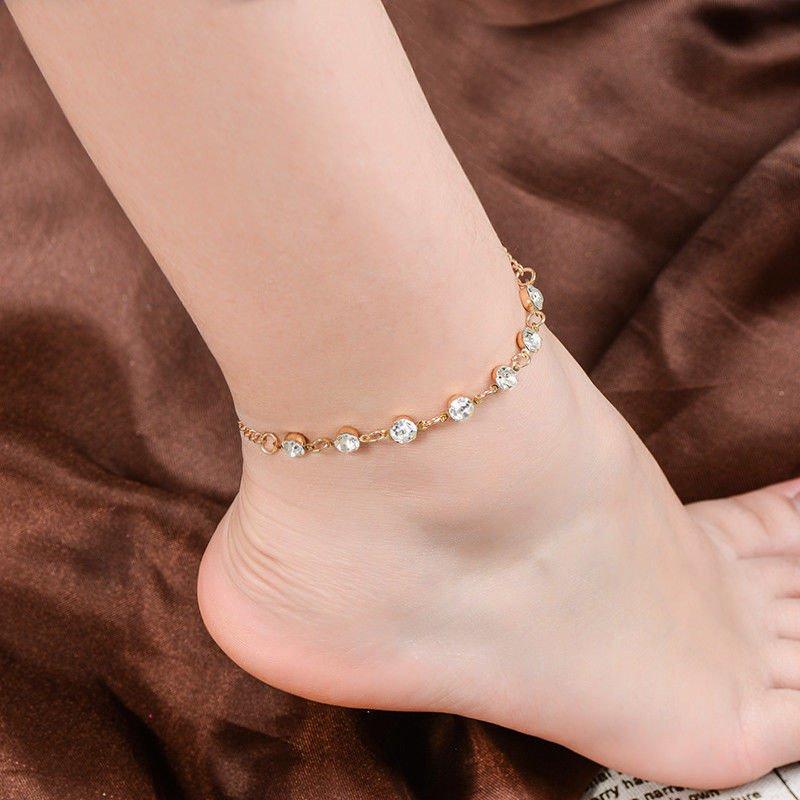 USA Crystal Rhinestone Ankle Bracelet Women Anklet Chain Foot Beach Jewelry