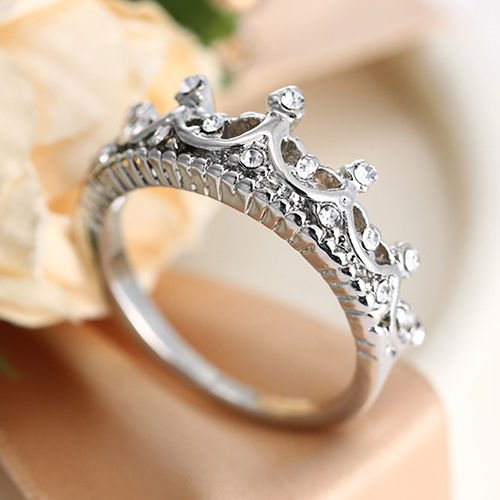 USA New Queen Princess Women Silver Plated Rhinestone Crown Ring Size 5-10
