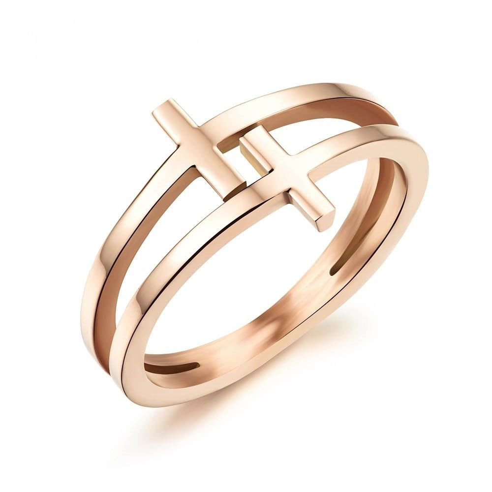 USA Women Christian 18K Rose Gold Plated Stainless Steel Double Cross Ring Band