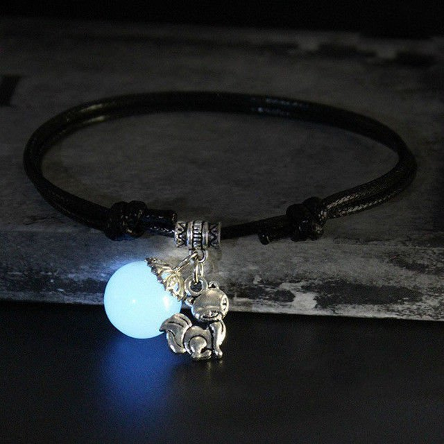 Glow In The Dark Luminous Sphere Stone Leather Cord Anklet Ankle Bracelet