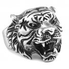 Men Domineering Tiger Head Carving Steel Finger Ring Punk Biker Jewelry