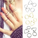 Lady 5Pcs/Set Popular Women Black Gold Silver Above Knuckle Ring Band Midi Rings