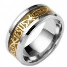 8mm Gold Color Carbon Fiber Christian Jesus Letter Titanium Steel Ring Band