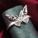 925S Silver Plated Hollow Butterfly Zircon Engagement Rings Women's Wedding Ring