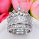2pc Princess Ring Women Silver Plated Rhinestone Crown Statement Ring Size 5-9