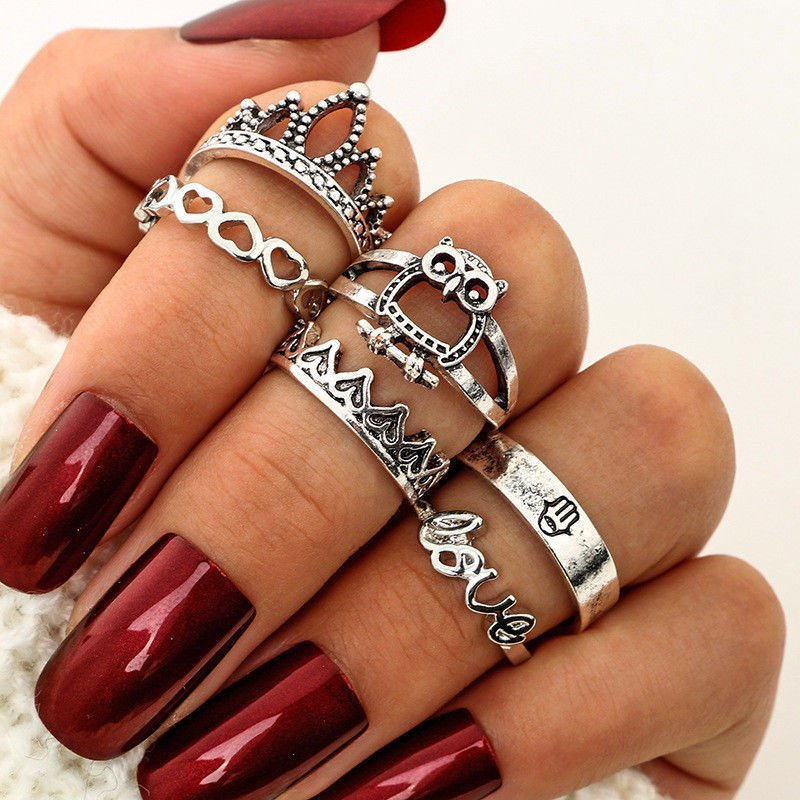 6PCS Women Retro Boho Owl Crown Midi Finger Knuckle Ring Set Tribal Ethnic Rings