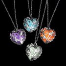 Magical Glow In The Dark Necklace Silver Hollow Heart Shaped Rhinestones Locket