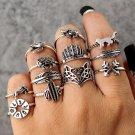 12Pcs/Set Lady Vintage Knuckle Midi Ring Leaf Fox Elephant Design Rings Bands