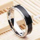 USA 6MM Black Titanium Stainless Steel Promise Engagement Silver Ring Band