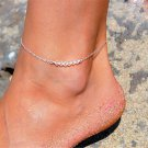 Simple Silver Chain Crystal Beads Anklet Ankle Bracelet Women Foot Jewelry