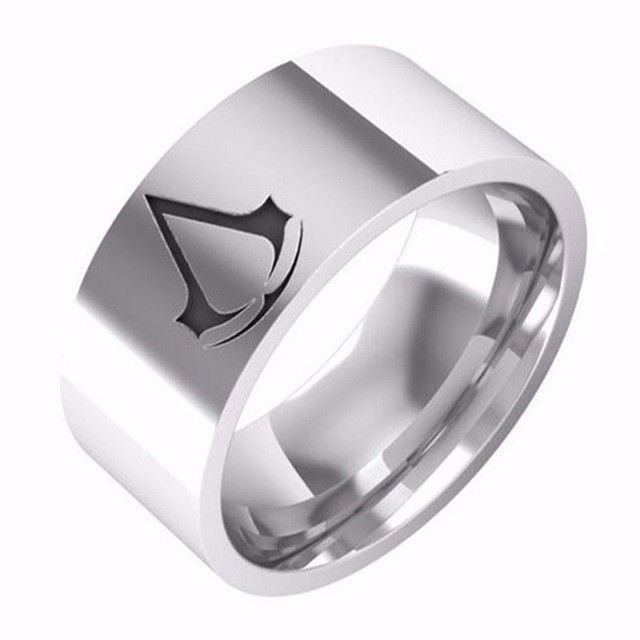 8MM Fashion Titanium Men Boy creed assassins Symbol Silver Stainless Steel Ring