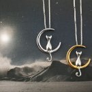 USA Lady Simple Silver Plated Cat On Moon Pendant Animal Clavicle Chain Necklace
