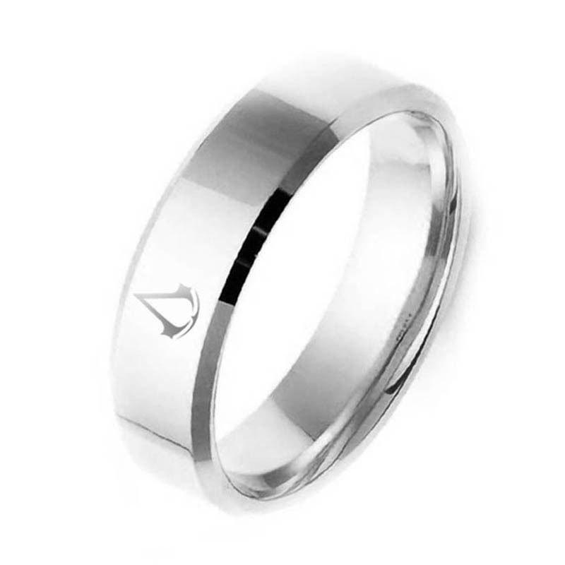 8MM Fashion Titanium Men Boy creed assassins Symbol Stainless Steel Silver Ring