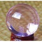 40mm+Stand Asian Rare Natural Light Pink Magic K9 Crystal Healing Ball Sphere
