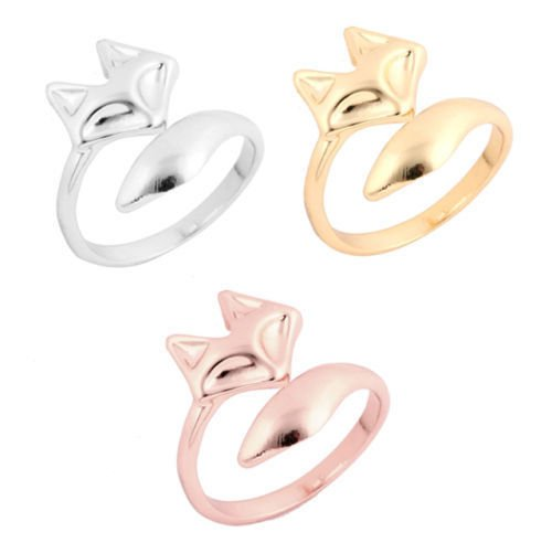 3 Color New Fashion Women Lady Lovely Fox Ring Finger Opening Adjustable Ring