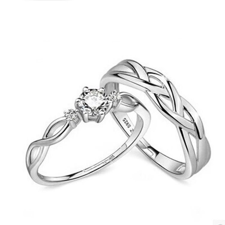 2pcs 925 Silver Plated Adjustable Intertwined Rhinestone Matching Couple Rings