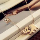 New Mom and Baby Elephant Pendant Chain Gold Necklace Women Lady Jewelry Gift