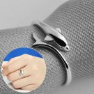 New 925 Sterling Silver Plated Ring Silver Dolphin Open Adjustable Fashion Ring